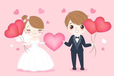 A cute cartoon wedding people smile happily on the pink background