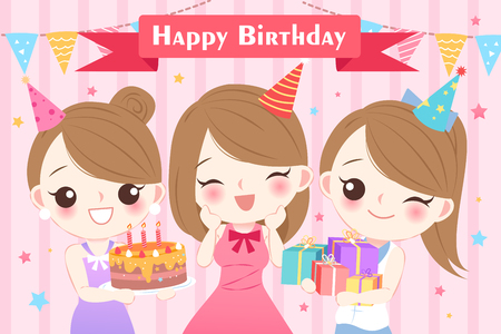 A cute cartoon woman with birthday party on the pink background