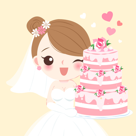 cute cartoon bride with cake on the yellow background Vettoriali
