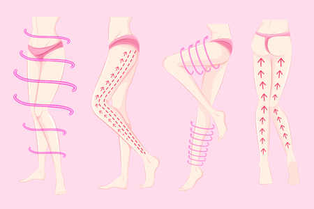 A woman with body plastic surgery concept on the pink background