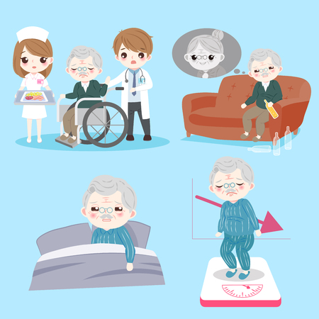 Old man with health problem on the blue background Illustration
