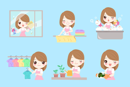 Una casalinga simpatico cartone animato lavora sullo sfondo blu Vettoriali