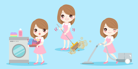 Cute cartoon housewife do work on blue illustration.