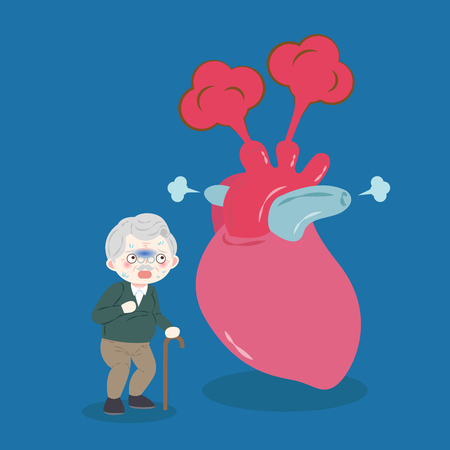 Old man with heart problem on blue illustration.