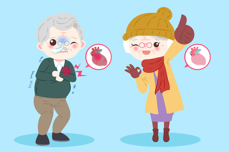 Old people with heart healthy concept on blue illustration.