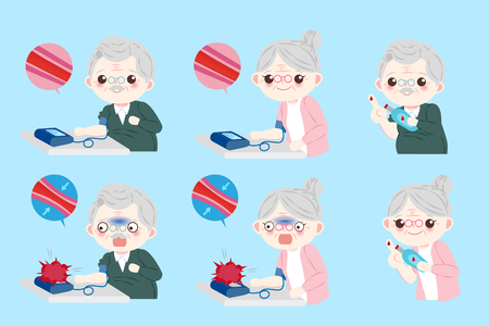 Old people with blood pressure on blue illustration. Banco de Imagens - 92479190