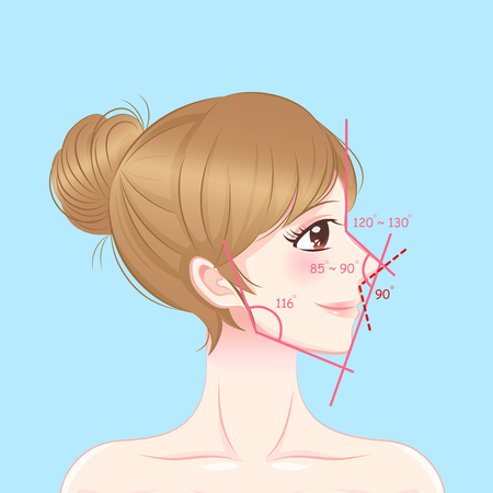 Woman with perfect face proportions on the blue background, Illustration