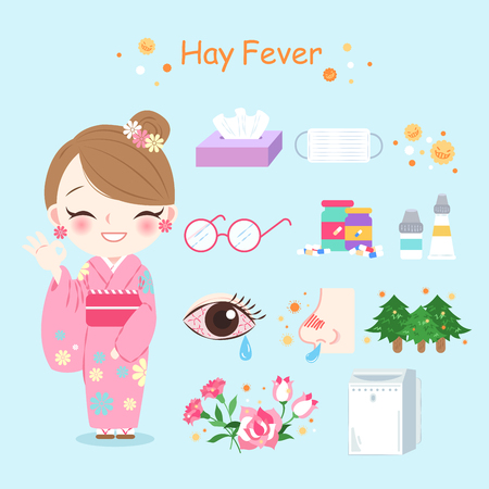woman with hay fever problem on the blue background