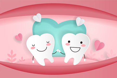 cute cartoon tooth with dental care on the pink background