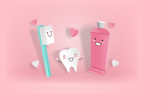 cute cartoon tooth with love concept on the pink background Ilustrace