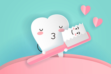 cute cartoon tooth and brush with love concept
