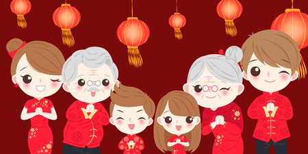Family with Chinese new year on the red background Çizim