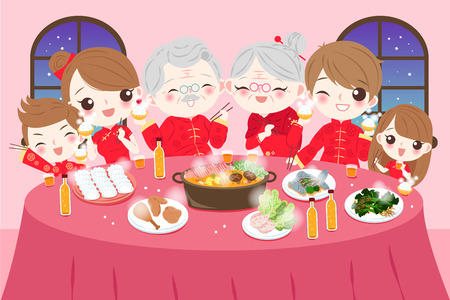 Cartoon family wear cheongsam with year dishes in their home