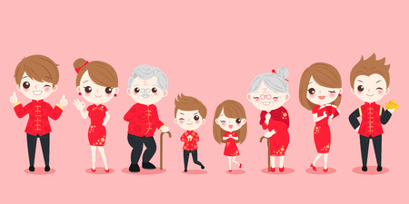 Family with Chinese new year on the pink background Фото со стока - 93168411