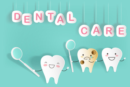 Cute cartoon tooth with dental care on the green background Çizim