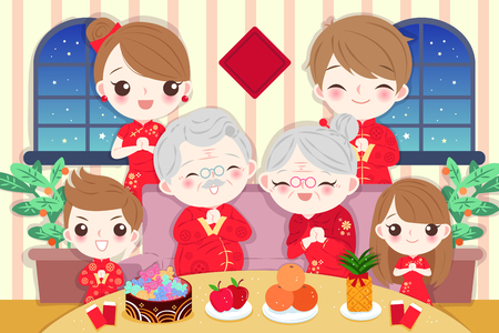 cartoon family wear cheongsam with new year on the red background
