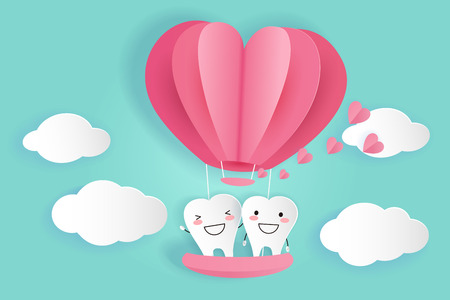 tooth with hot air balloon on the green background Illustration