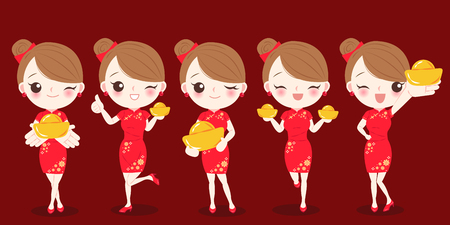 woman with chinese new year and take gold ingot on the red background