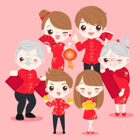 family with chinese new year on the pink background