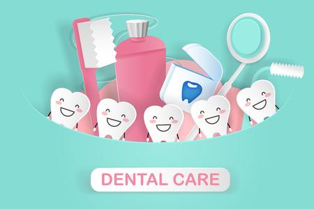 ząb kreskówka z koncepcją opieki stomatologicznej na zielonym tle Ilustracje wektorowe