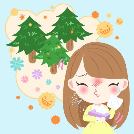 cute cartoon meisje krijgt hooikoorts en voelt zich ongemakkelijk