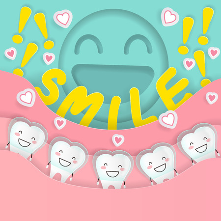 cute cartoon tooth with braces concept on the green background