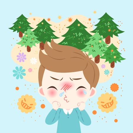 Cute cartoon uncomfortable boy with hay fever. 일러스트