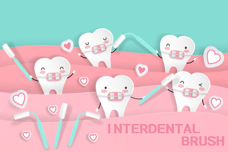cute cartoon tooth with inter dental brush on the green background Illustration
