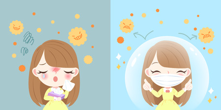 cute cartoon girl get hay fever and feel uncomfortable