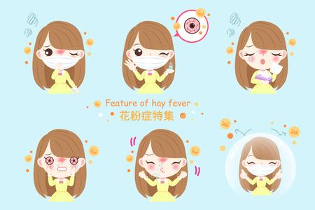 meisje met pollenallergie en kenmerk van hooikoorts in Chinees woord