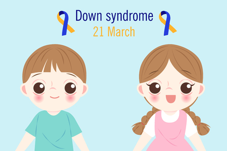 children with down syndrome concept on blue background