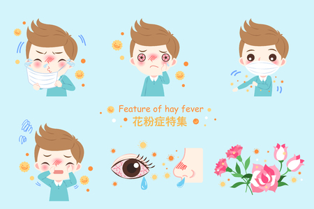boy with pollen allergy and feature of hay fever in chinese word Illustration