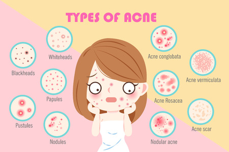 girl with types of acne on the pink background Vectores