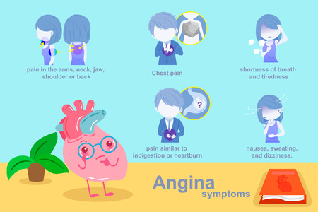 heart with angina symptom on the blue background