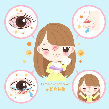 girl with pollen allergy and feature of hay fever in chinese word