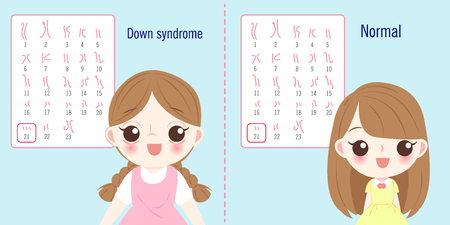 girl with normal and down syndrome concept on blue background