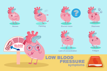 heart with low blood pressure concept on blue background