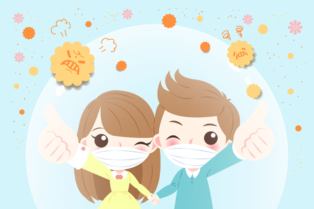 cartoon child with hay fever concept on the blue background 일러스트