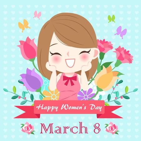 gelukkige vrouw dag concept op de groene achtergrond