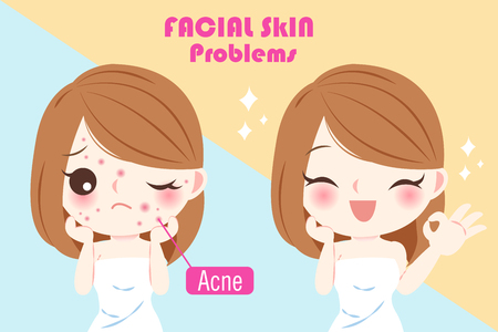 woman with acne problem before and after concept Illusztráció