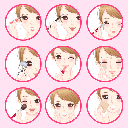 woman with make up concept on the pink background Illustration