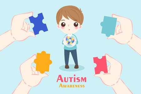 自閉症の意識の概念を持つかわいい漫画の少年