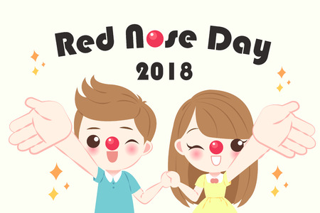 children with red nose day on the yellow background Illustration