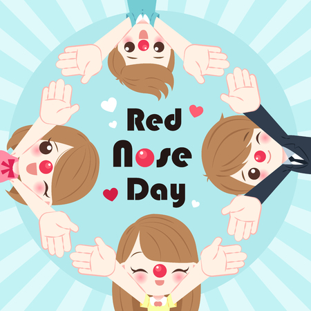people with red nose day on the blue background 向量圖像