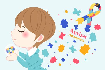cute cartoon boy with autism awareness concept Illustration
