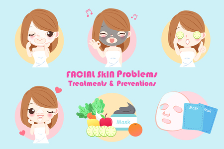 woman with facial skin problem on the blue background