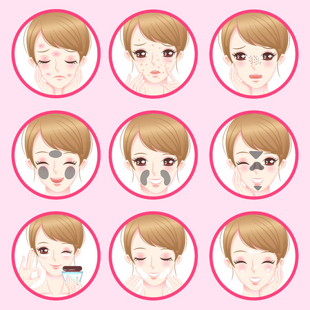 woman with facial skin concept on the pink background Illustration