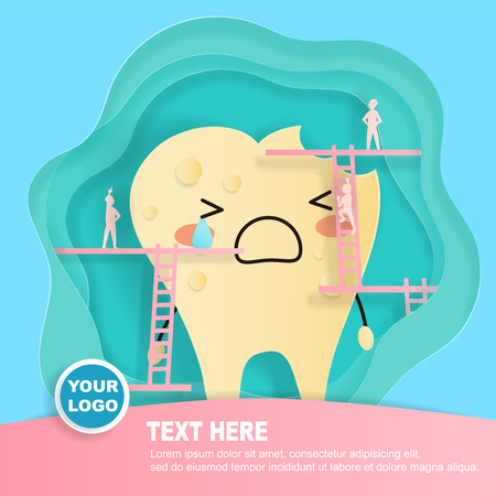 Tooth with decay problem on the blue background illustration.