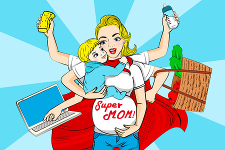 Cartoon super mom on the blue background illustration. Vectores