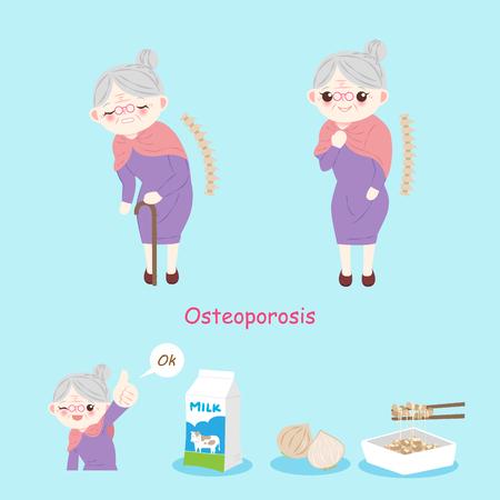Stara kobieta z osteoporozą na niebieskim tle.